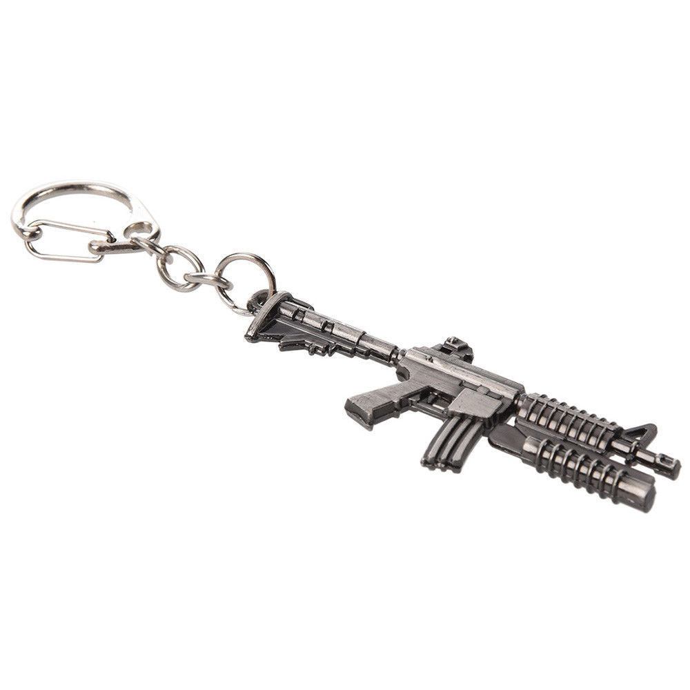 Model M4 Carbine Grenade Launcher M16 Gun Metal Keyring - GENTS CLOBBER