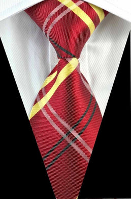 RED SILK TIE | STRIPED PATTERN TIE | GENTS CLOBBER