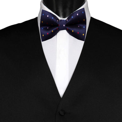 Pre-Tied Mens Adjustable Silk Navy Blue Multicolour Polka Dot Bow Tie