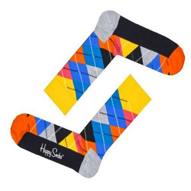 Happy Socks Mens Pair Yellow Orange Multi Argyle Diamond UK 7½-11½ - GENTS CLOBBER