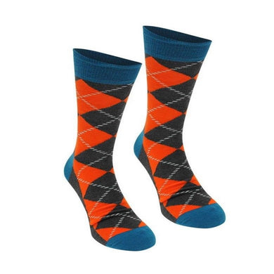 Happy Socks Mens Pair Grey Orange Teal Argyle Diamond UK 7½-11½ - GENTS CLOBBER