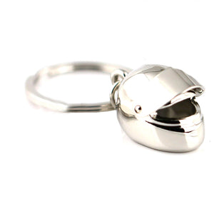 Motorbike Crash Helmet Chrome Silver Keyring - GENTS CLOBBER