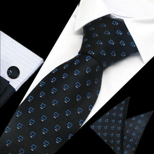 Mens Navy Blue White Pattern Silk Tie Hanky Cufflinks - GENTS CLOBBER