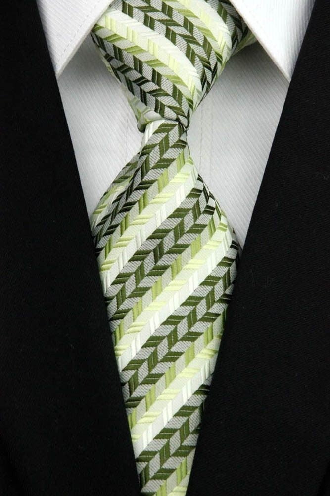 GREEN PATTERNED TIE | 2 WAY STRIPE | GENTS CLOBBER