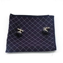 Load image into Gallery viewer, Mens Purple White Geometric Check Silk Tie Hanky Cufflinks - GENTS CLOBBER
