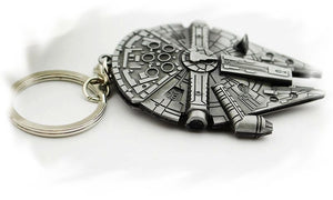 Chunky Star Wars Millennium Falcon Chrome Steel Silver Keyring - GENTS CLOBBER
