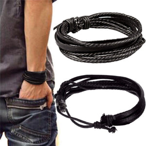 Multilayer Black PU Leather Mens Bracelet - GENTS CLOBBER