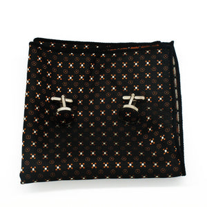 Mens Black Brown Floral Silk Tie Hanky Cufflinks - GENTS CLOBBER