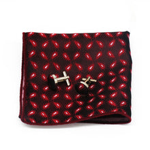 Load image into Gallery viewer, Mens Red Paisley Floral Silk Tie Hanky Cufflinks - GENTS CLOBBER
