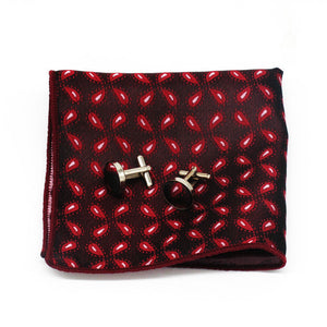 Mens Red Paisley Floral Silk Tie Hanky Cufflinks - GENTS CLOBBER