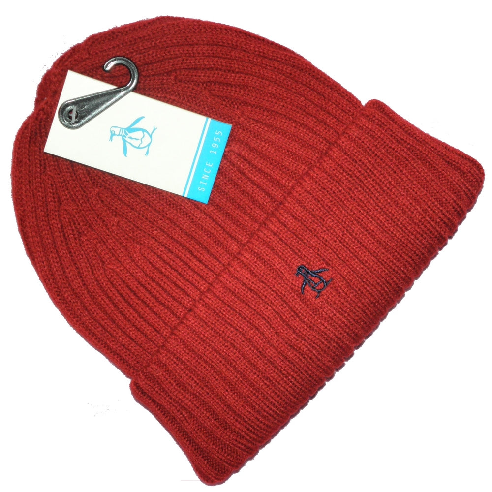 dbab99d248d Original Penguin Mens Red Ribbed Beanie Hat One Size