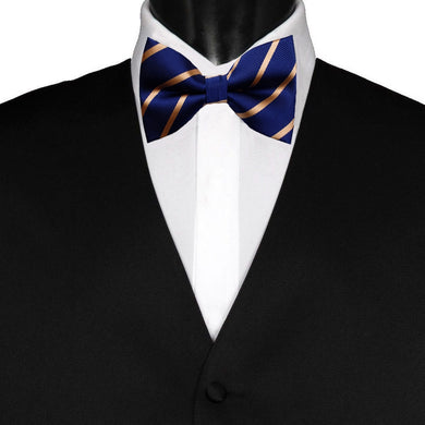 Pre-Tied Mens Adjustable Silk Navy Blue Gold Striped Bow Tie - GENTS CLOBBER