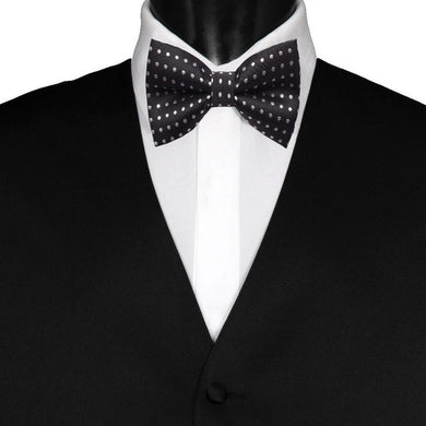 Pre-Tied Mens Adjustable Silk Black Polka Dot Bow Tie - GENTS CLOBBER