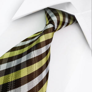 SILK STRIPED TIE | BROWN YELLOW WHITE | GENTS CLOBBER