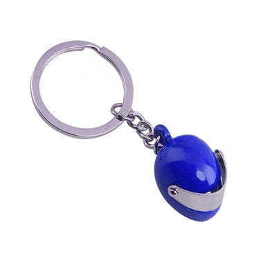 Motorbike Crash Helmet Blue Keyring | Free UK Shipping | Gents Clobber