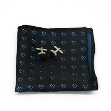 Load image into Gallery viewer, Mens Navy Blue White Pattern Silk Tie Hanky Cufflinks - GENTS CLOBBER