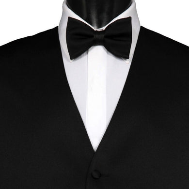 Pre-Tied Wedding Party Prom Mens Adjustable Plain Solid Black Bow Tie - GENTS CLOBBER