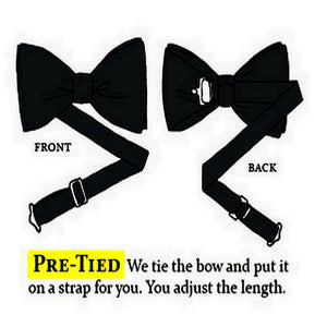 Pre-Tied Wedding Party Mens Adjustable Plain Solid Red Bow Tie - GENTS CLOBBER