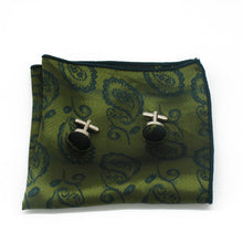 Load image into Gallery viewer, Mens Green Paisley Silk Tie Hanky Cufflinks - GENTS CLOBBER