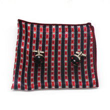 Load image into Gallery viewer, Mens Black White Red Check Silk Tie Hanky Cufflinks - GENTS CLOBBER
