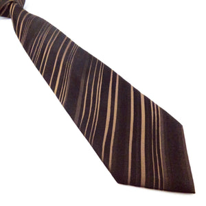 BROWN STRIPED TIE | PLECTRUM BADGE | GENTS CLOBBER