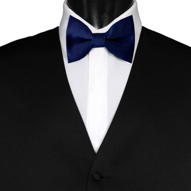 Pre-Tied Wedding Party Mens Adjustable Plain Solid Navy Blue Bow Tie - GENTS CLOBBER