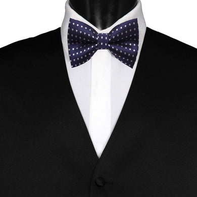 Pre-Tied Mens Adjustable Silk Navy Blue Polka Dot Bow Tie - GENTS CLOBBER