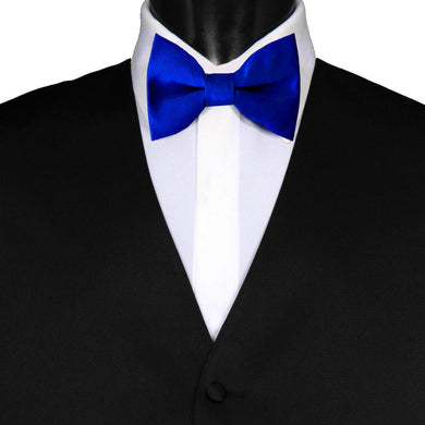 Pre-Tied Wedding Party Mens Adjustable Plain Solid Royal Blue Bow Tie - GENTS CLOBBER