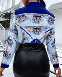 Scarf Print Colorblock Long Sleeve Shirt