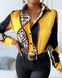 Scarf Print Colorblock Buttoned Long Sleeve Shirt
