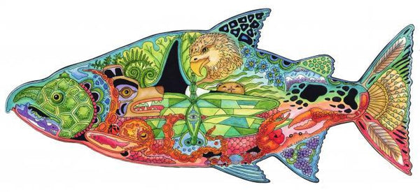 Wooden Jigsaw Puzzle Chinook Salmon