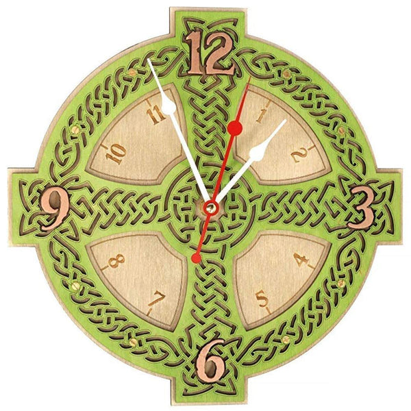 "12"" Celtic Irish Cross III wooden clock"