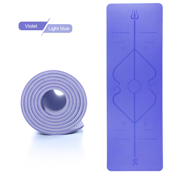 Two-Color Yoga Mat with Body Position Line
