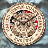"12"" Wooden Clock - U.S. Coast Guard reserve"