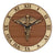 "Caduceus Clock in wood -  12"" Wooden Clock"