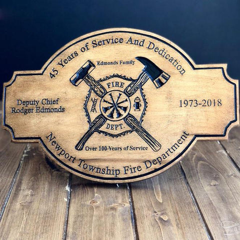 "15"" Burned Wood Firefighter Personalized Sign"