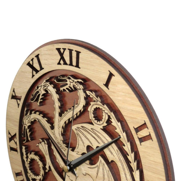 "12"" Targaryen Clock in Wood - Wooden Clock"