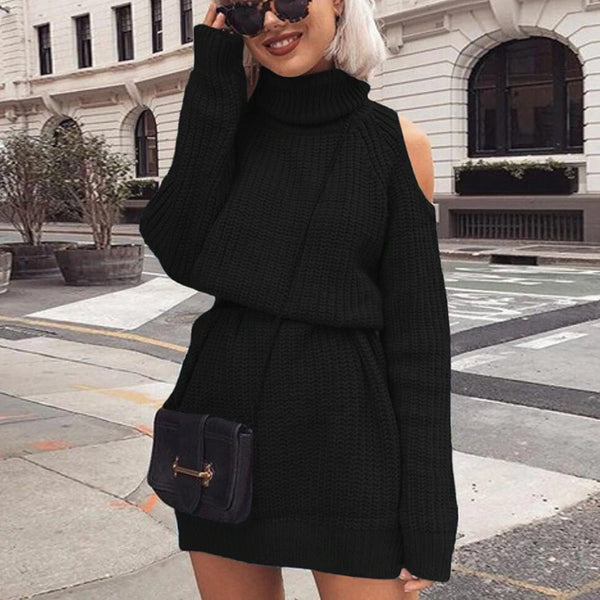 Autumn Winter Turtleneck Off Shoulder Knitted Sweater