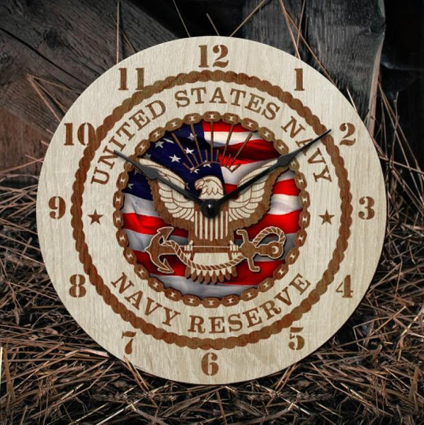 "12"" Wooden clock - Navy reserve"
