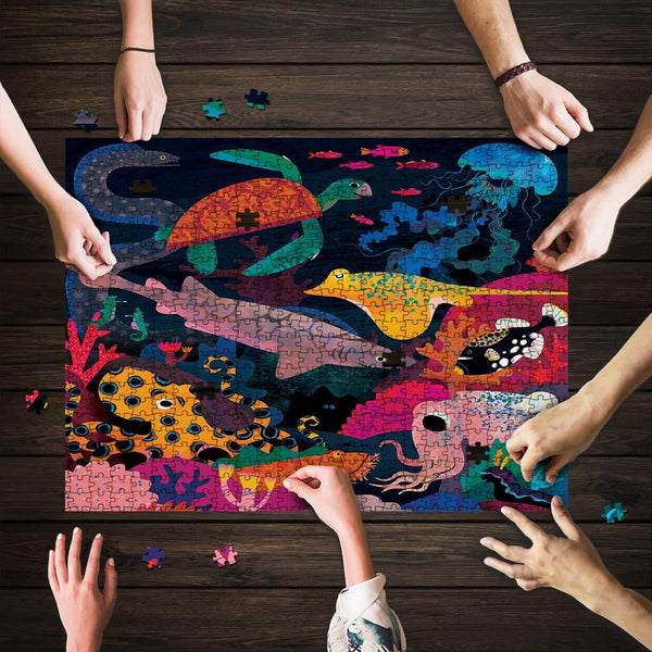 Wooden puzzle, jigsaw puzzle Ocean Illuminated 500/1000 Pieces Puzzle