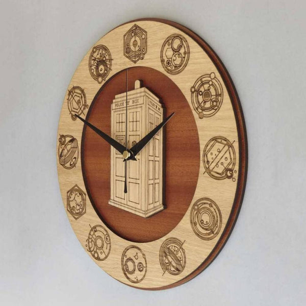 "12"" Doctor Wooden Clock / Tardis Clock"