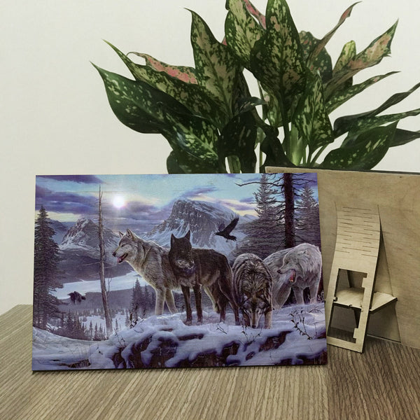 Wolf In The Snow Jungle Decorative Wood Prints