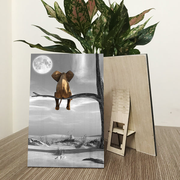 Lonely Elephant On The Tree Wood Prints