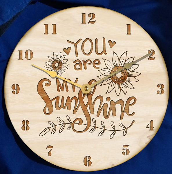 "12"" wooden clock - ""You are my sunshine"" wooden clock"