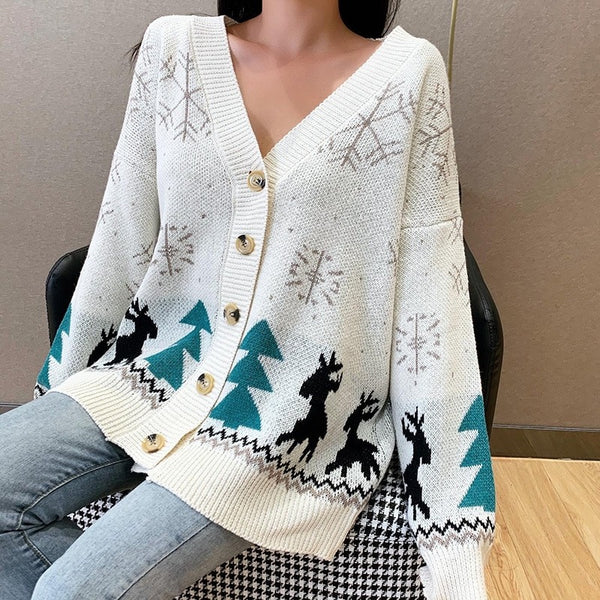 V Neck Cartoon Long Cardigan Christmas Women Sweater