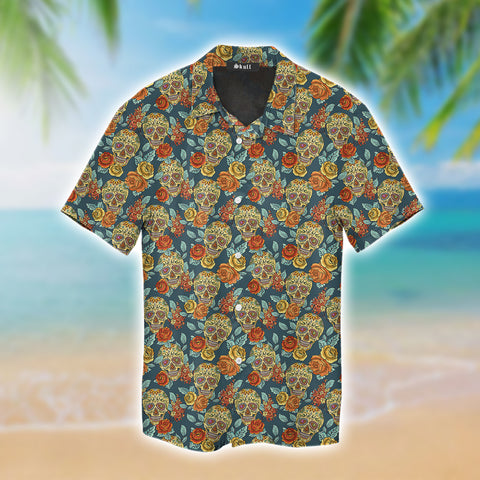 Tropical Flower Skull Green Hawaiian Shirt