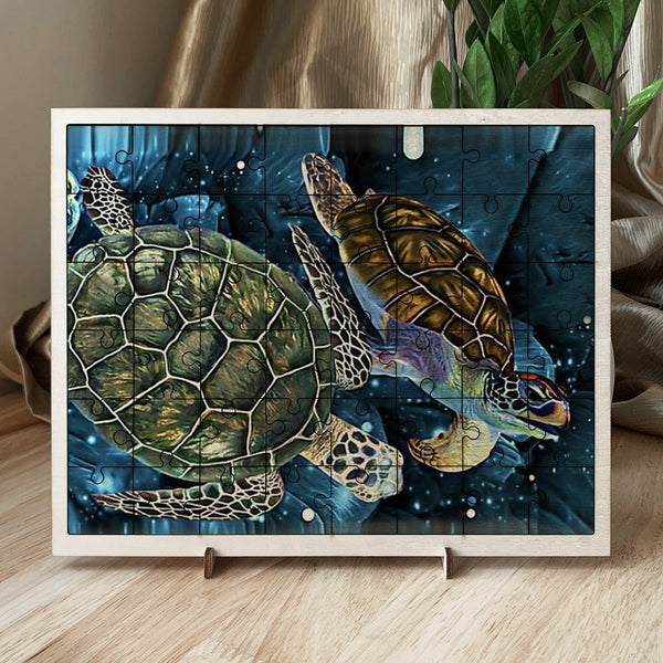 Picture puzzles, wood frame with picture - Animals, turtle