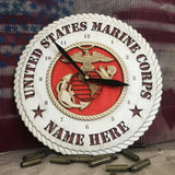 "Personalized 12"" Marine Corps Wooden Clock"