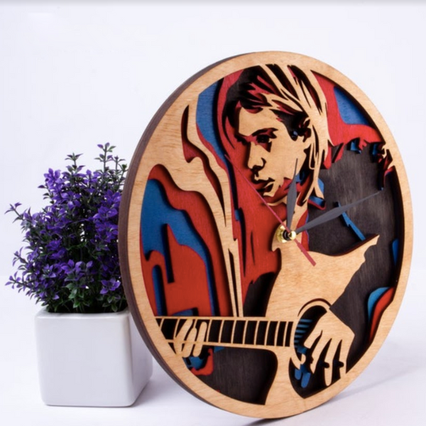 Wooden Clock - 3D Clock - Nirvana
