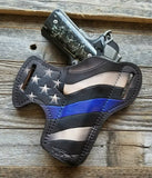 Thin Blue Line Flag Leather Holster